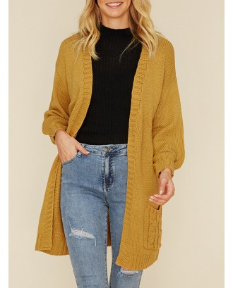 Casual Solid Color Pockets Open Sweater