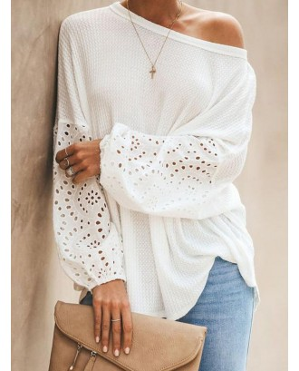 Casual Hollow Out Rib Knit Cuff Long Sleeve Knitting Sweater