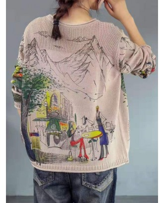 Vintage Print Crew Neck Long Sleeve Sweater