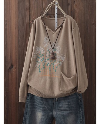Casual Print Long Sleeve Overhead Sweater For Women