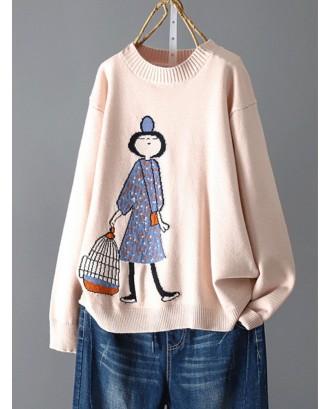Crew Neck Cartoon Long Sleeve Casual Sweater For Women