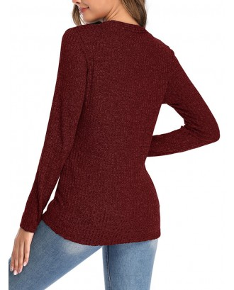 Solid Color V-neck Button Sweater For Women