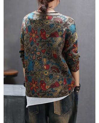 Ethnic Print V-neck Pockets Button Knitting Cardigan