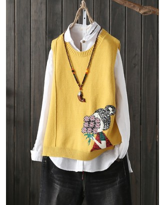 Cartoon Print O-neck Sleeveless Women Casual Sweater