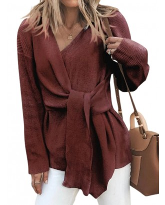 Fashion V-neck Solid Color Waistband Sweater