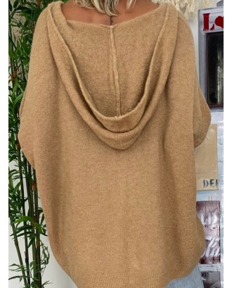 Casual Solid Color Loose Hooded Knitting Sweater