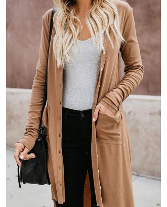 Solid Color Pockets Button Knitting Thin Cardigans
