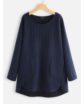 Casual Pockets Crew Neck Knitting Jacquard Sweater