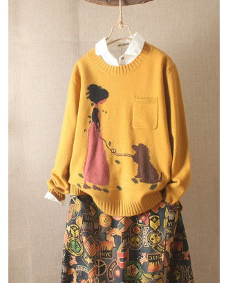 Cartoon Long Sleeve Pocket Casual Pullover Sweater
