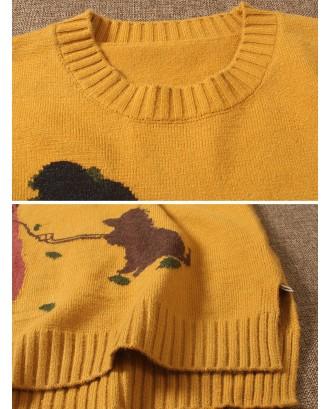 Cartoon Long Sleeve Pocket Casual Pullover Sweater