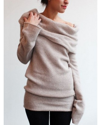 Off-shoulder Solid Color Pile Collar Long Sleeve Sweater