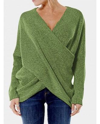Cross Wrap Solid Color Irregular Long Sleeve Sweater