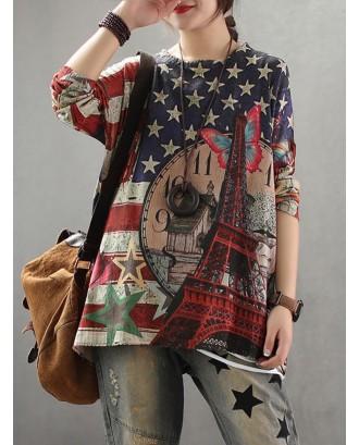 Flag Print Knit Long Sleeve Sweater