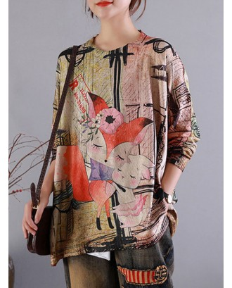 Cartoon Animal Print Vintage O-neck Loose Autumn Sweater