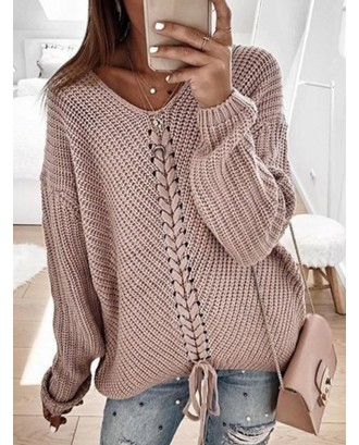 Solid Color Bandage Long Sleeve Sweater For Women