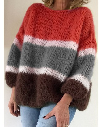 Contrast Color Long Sleeve Sweater For Women