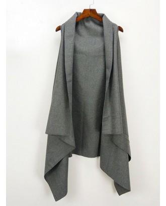 Solid Color Cloak Swallowtail Woolen Cardigan Vest