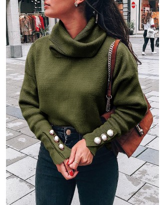 Casual Solid Color Turtleneck Button Long Sleeve Sweater Women