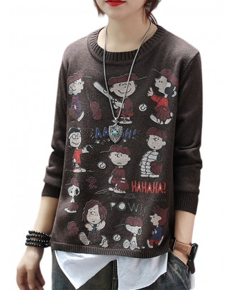 Cartoon Print Long Sleeve Overhead Casual Sweater