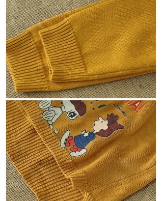 Cartoon Print Long Sleeve Overhead Casual Sweater