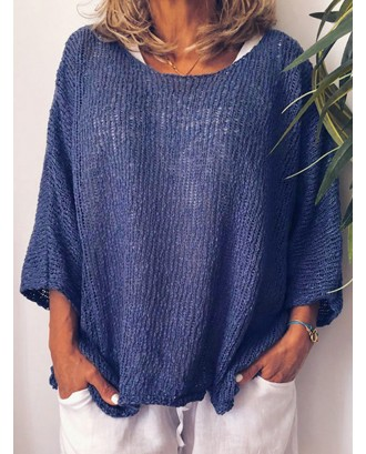 Knitting Solid Color Loose Long Sleeve Sweater
