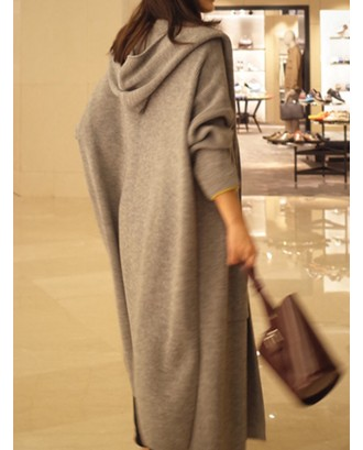 Long Sleeve Solid Hooded Loose Knitted Sweater Cardigan