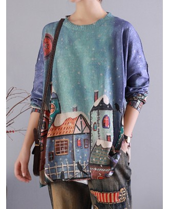 Gradient Cartoon Printed O-neck Long Sleeve Sweater For Women