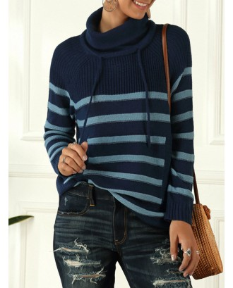 Turtleneck Stripe Long Sleeve Sweater For Women