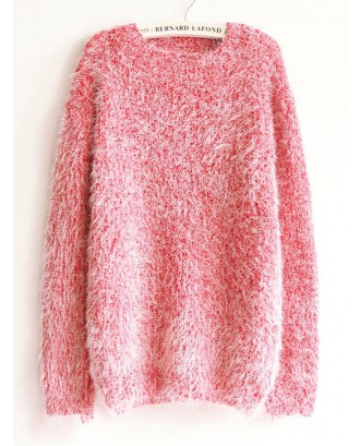 Solid Color Long Sleeve Pullover Mohair Sweaters