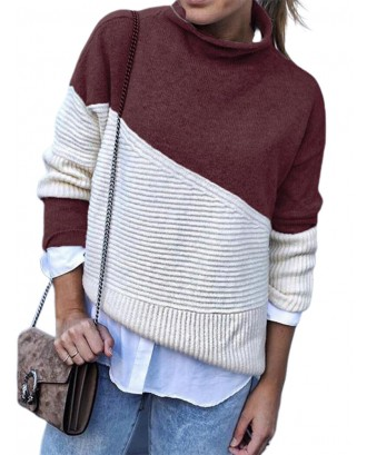 Turtleneck Contrast Color Patchwork Long Sleeve Sweater