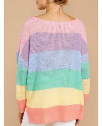 Casual Rainbow Striped V-neck Sweater