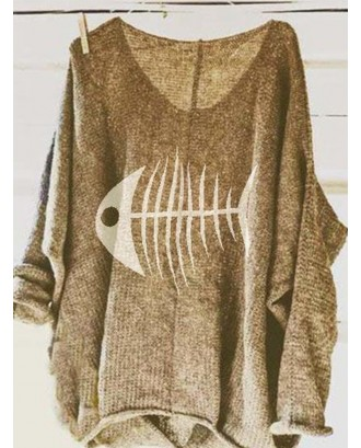 Casual Print Fish-bone Loose Long Sleeve Sweaters