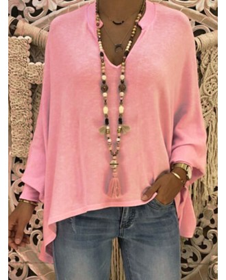 Batwing Sleeve V Neck High Low Sweater