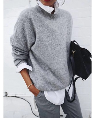 Solid Color Long Sleeve Sweater For Women