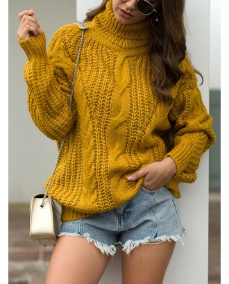 Tutleneck Oversized Twist Cable Chunky Casual Sweater