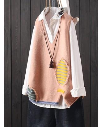Stripe Patchwork Splited Sleeveless Sweater For Women
