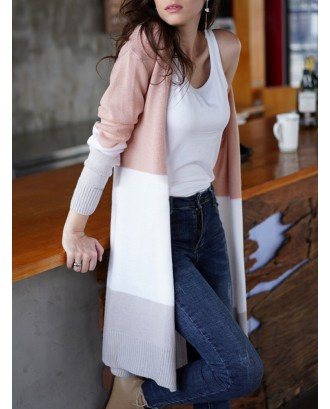 Casual Patch Striped Long Sleeve Sweater Cardigan