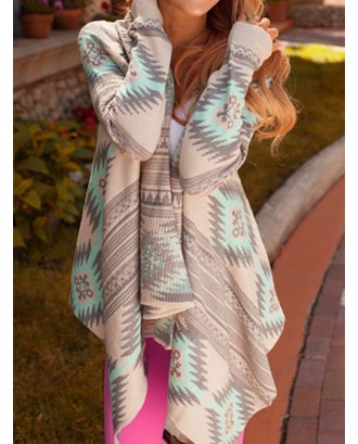 Asymmetrical Ethnic Print Long Sleeve Cardigan For Women