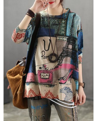 Vintage Knit Thin Street Print Long Sleeve Sweater