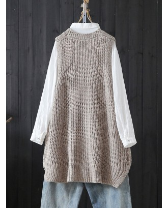 Retro Literary Loose Wild Twist Sleeveless Sweater