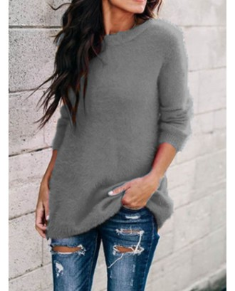 Crew Neck Solid Color Long Sleeve Casual Sweater For Women