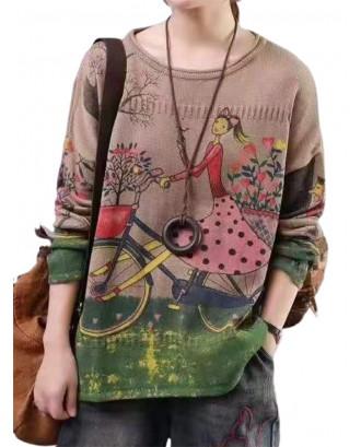 Retro Art Loose Girl Bicycle Printed Sweater