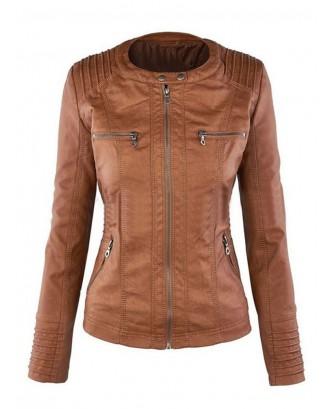 Casual Zipper Hooded Women PU Leather Jackets
