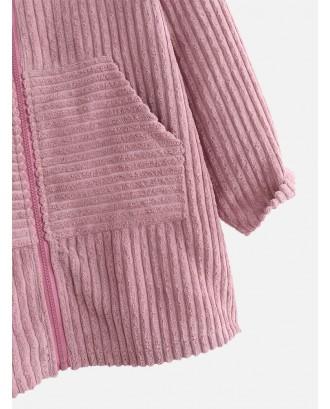Vintage Pocket Corduroy Zipper Coat