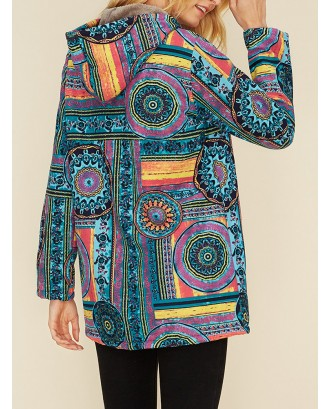 Vintage Print Zipper Hooded Coat