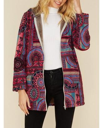 Vintage Print Zipper Hooded Coat