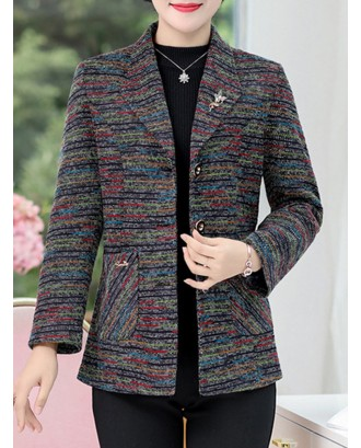 Solid Color Turn-down Collar Woolen Short Coat