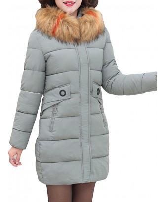Hooded Fur Collar Thicken Warm Coat