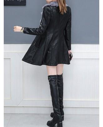 PU Leather Plus Velvet Thick Fur Collar Coat