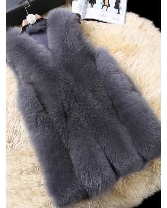 Elegant Faux Fur Pure Color Sleeveless Women Vest Coat